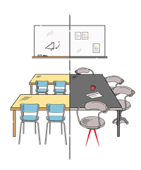 Illustrated school classroom to office meeting room image