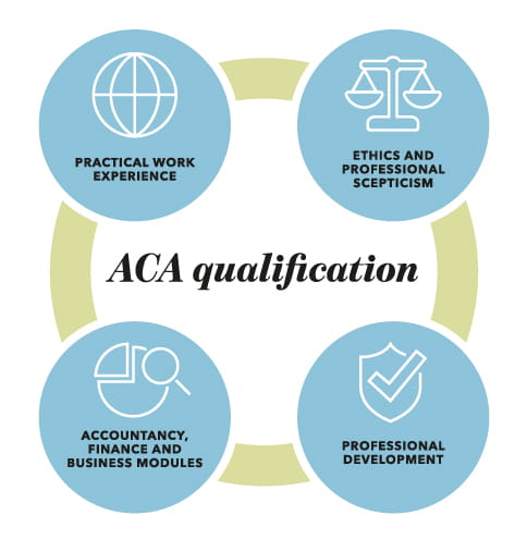 Infographic showing the elements of the ACA - knowledge, skills and experience